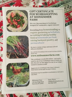 Gift Certificate for Workshops at Midsummer Farm